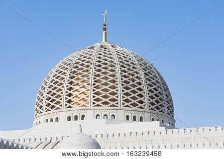 The dome of the Sultan Qaboos Grand Mosque in Muscat the main mosque of The Sultanate of Oman.