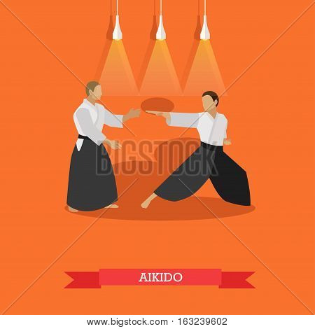 Vector poster of martial arts. Aikido. Fighters in sport positions. Flat design.