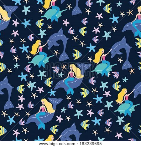 Seamless pattern with mermaids, fish, dolphins, sea. Seamless pattern with cartoon mermaid for kids, girl. Vector illustration.