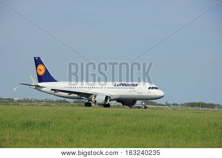 Amsterdam the Netherlands - May11th 2015: D-AIUG Lufthansa Airbus A320-200 on the Polderbaan runway of Amsterdam Schiphol Airport. Lufthansa is a German airline and also the largest airline in Europe headquartered in Cologne founded in 1953.