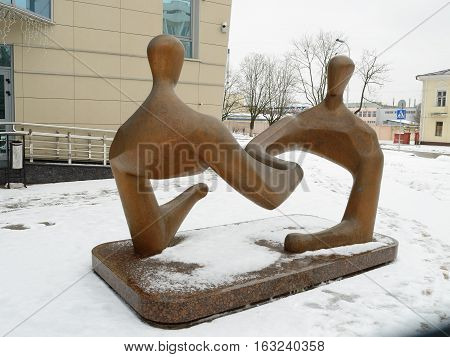 24.12.2016.Byelorussia.Gomel.The sculptureon a commercial themeinstalled in the Bank building.