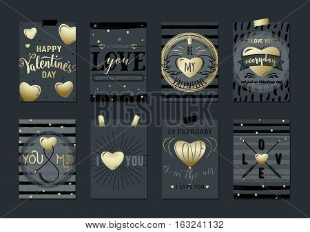 Vector illustration of hipsters valentines day greeting card. Stylish geometric black background with gold heart element, stripes for design invitations, gift, flyers, brochures