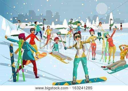 People involved in winter sports in the park outside the city. Skiing snowboarding ice skating. Games in the open air. Flat cartoon vector illustration