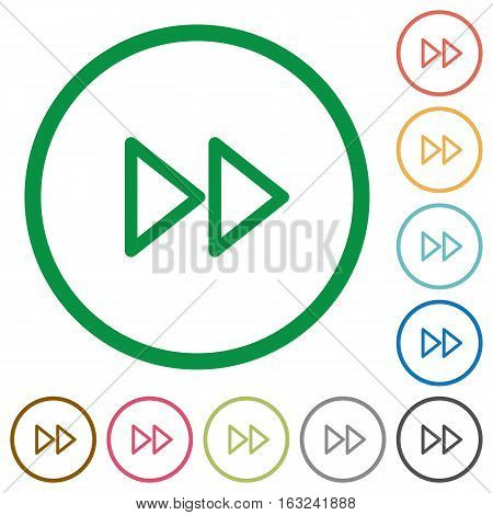 Media fast forward flat color icons in round outlines on white background