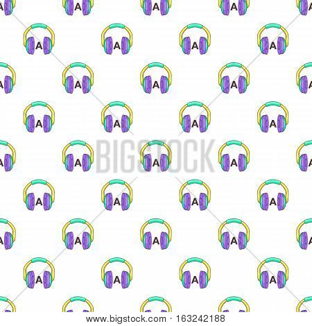 Language learning in headphones pattern. Cartoon illustration of language learning in headphones vector pattern for web