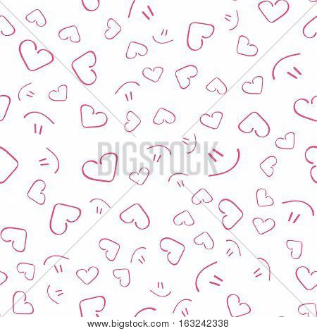 Continuous pattern, background for printing. Beautiful cute seamless pattern with hearts and smile. Vector in flat style.