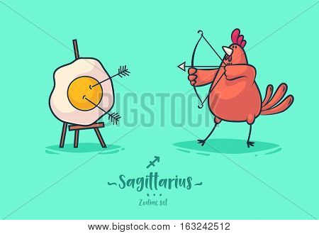 Zodiac signs Sagittarius. Rooster and omelette. Zodiac greeting card background poster. Vector illustration.
