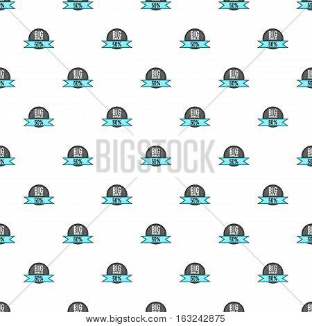 Label big sale fifty percent pattern. Cartoon illustration of label big sale fifty percent vector pattern for web