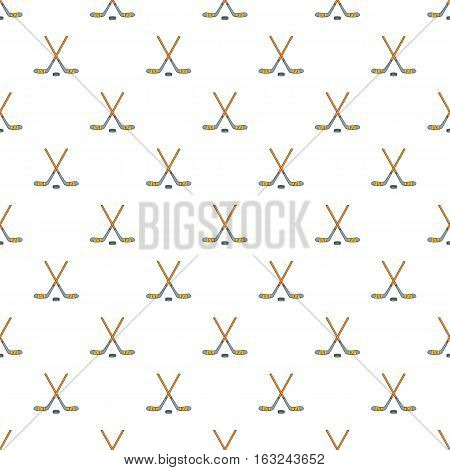Hockey sticks and puck pattern. Cartoon illustration of hockey sticks and puck vector pattern for web