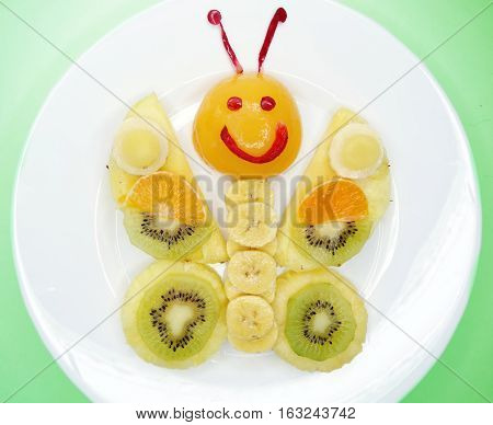 creative fruit dessert for child funny form butterfly