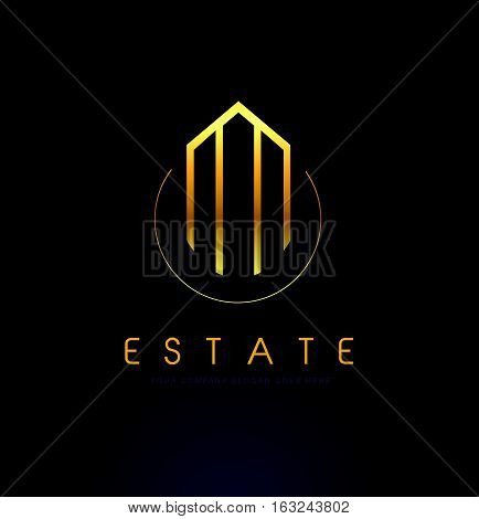 Real Estate Logo Design. Building Logo with Skyscrapers