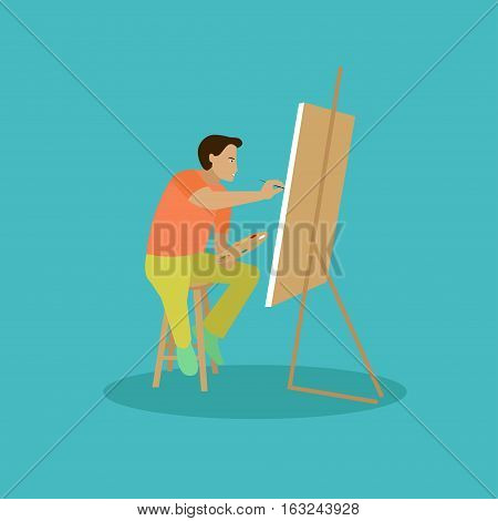 Painter is working on his easel picture. Vector illustration.