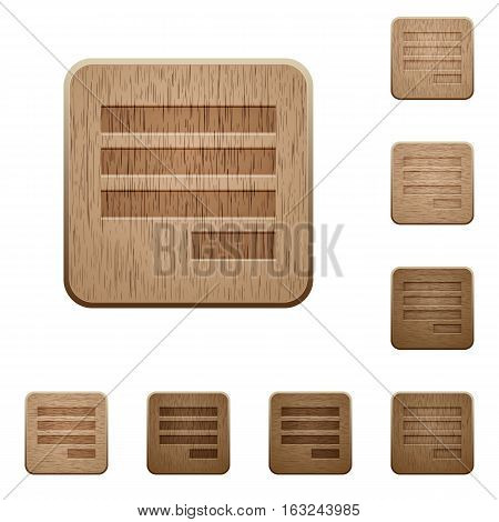 Text align justify last row right on rounded square carved wooden button styles