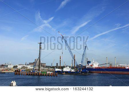 Ijmuiden, the Netherlands -  september 10th 2016: the worlds biggest sea lock under construction