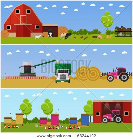 Set of farming, wheat harvesting, beekeeping concept banners. Agricultural machinery. Vector illustration in flat style.