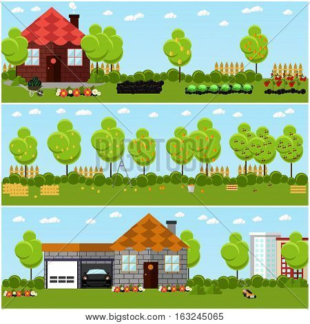 Vector set of gardening, harvesting and landscaping concept banners in flat style. Fruit and vegetables, trimming lawn and bush