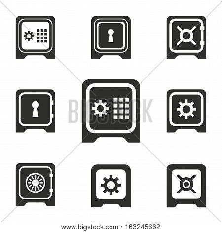 Safe vector icons set. Illustration isolated for graphic and web design.