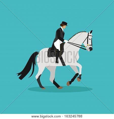 Race horse and lady jockey. Horseback riding concept flat vector illustration.