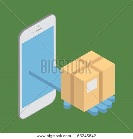 The concept of delivery of goods. Delivery interent via mobile phone. Vector isometric