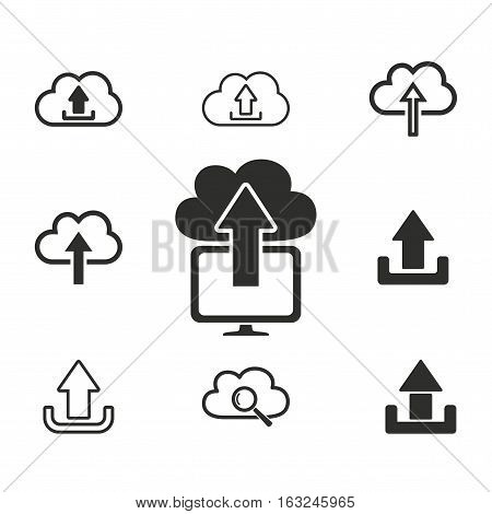 Upload vector icons set. Illustration isolated for graphic and web design.