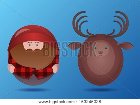 Set of cartoon round toy lumberjack and deer. Vector element for your creativity