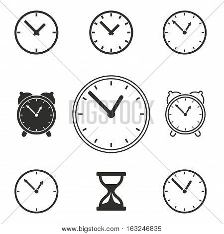 Clock vector icons set. Illustration isolated for graphic and web design.