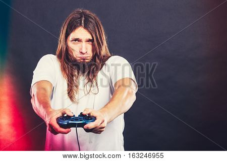 Unhappy Male Playing Games
