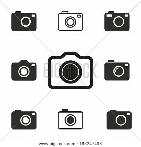 Photo vector icons set. Illustration isolated for graphic and web design.