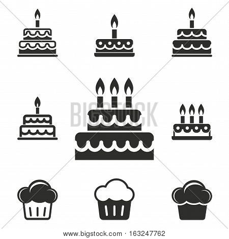 Cake vector icons set. Illustration isolated for graphic and web design.