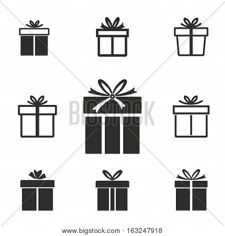 Gift Box vector icons set. Illustration isolated for graphic and web design.