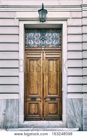 Athens Greece elegant house solid wooden door