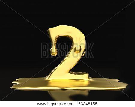 Liquid Gold Number Two 3D Illustration