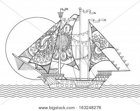 Sailing ship drawing coloring book for adults vector illustration. Anti-stress coloring for adult. Zentangle style. Black and white lines. Lace pattern