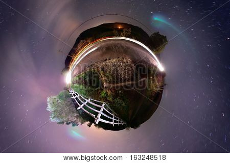 Little planet projection of roadside 360 panorama at night with Milky Way visible