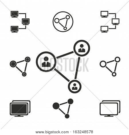 Network vector icons set. Illustration isolated for graphic and web design.