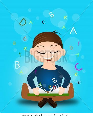 Illustration of learning boy sitting on ground with open book
