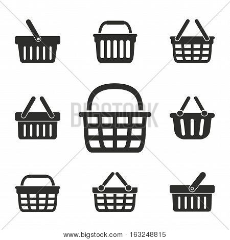 Shopping basket vector icons set. Illustration isolated for graphic and web design.