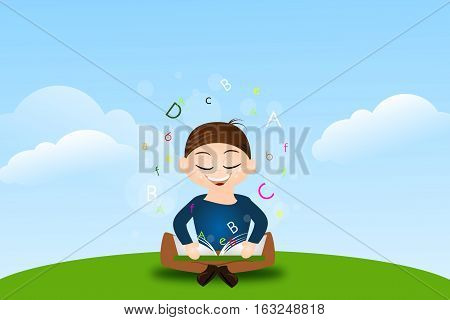 Illustration of learning boy sitting on grass with open book