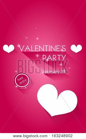 Pink background with text Valentine's party decorated with stars and hearts