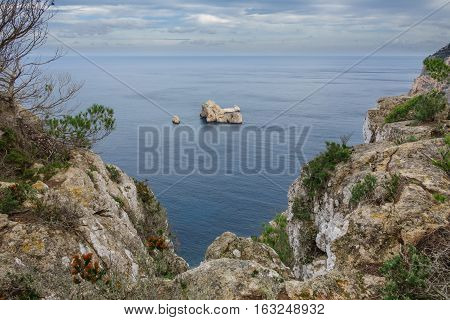 View of coastline and Rock islands in the sea