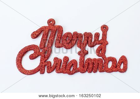 """the red """"merry christmas on white background"""""""