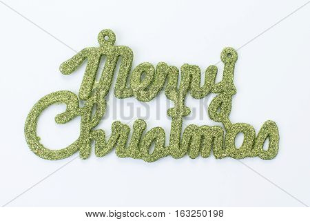 """the green """"merry christmas on white background"""""""