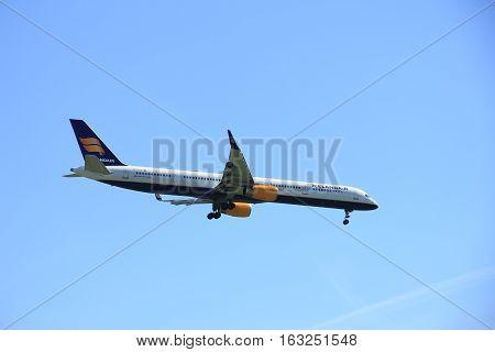 Amsterdam the Netherlands - May 5th 2016: TF-FIX Icelandair Boeing 757-308 approaching Polderbaan runway arriving from Reykjavik Iceland