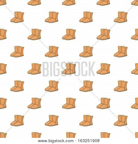 Winter ugg boots pattern. Cartoon illustration of winter ugg boots vector pattern for web