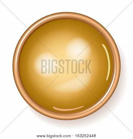 Golden plaque flatlay front view vector illustration isolated on white background