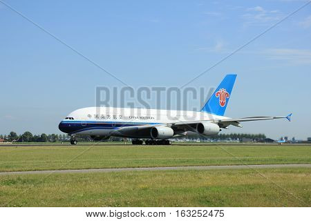 Amsterdam The Netherlands - August 7 2015: B-6137 China Southern Airlines Airbus A380-841 takes off from Polderbaan Runway.