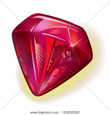 Ruby front view vector illustration isolated on white background