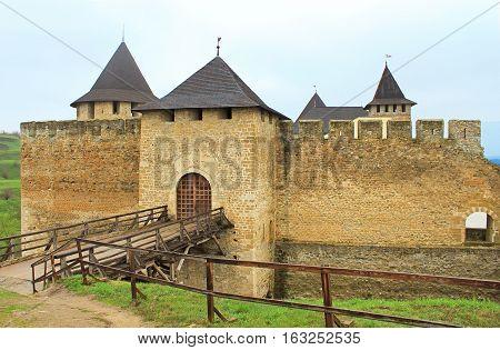 Entrance to Khotyn castle on Dniester riverside, Ukraine