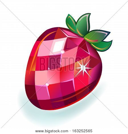 Jewelry strawberry front view vector illustration isolated on white background