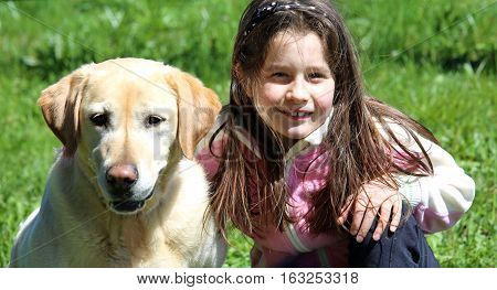 Cute Little Girl Playing With Labrador Retriever Dog